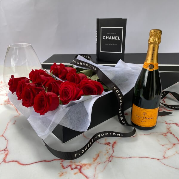 Rose Box and Veuve Gift