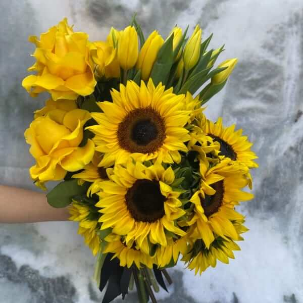 Sunflower, Tulip and Rose bouquet
